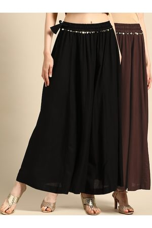 Tag 7 Women Black & Coffee Brown Solid Flared Palazzos