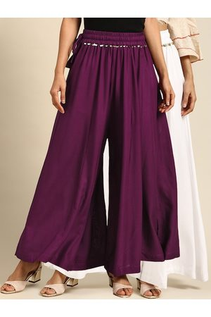 Tag 7 Women White & Purple Solid Flared Palazzos