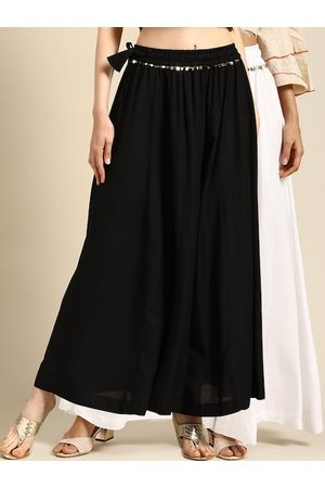 Tag 7 Women Black & White Solid Flared Palazzos