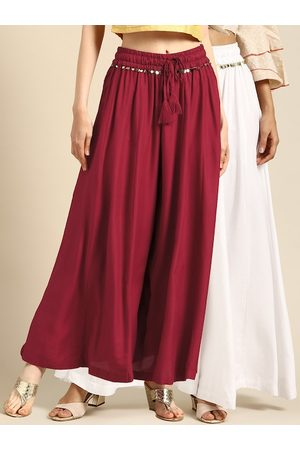 Tag 7 Women White & Maroon Solid Flared Palazzos