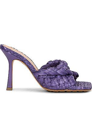Bottega Veneta Women Flats - Raffia Stretch Mules in Lavender