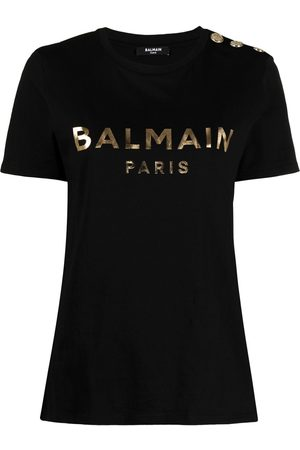Balmain Women Short Sleeve - Metallic-logo button-embellished T-shirt