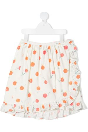 BONPOINT Girls Printed Skirts - Orange-print ruffle-trim skirt
