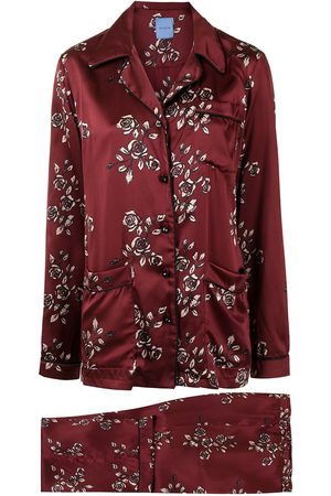 Macgraw Women Pyjamas - Rose-print silk pajama set