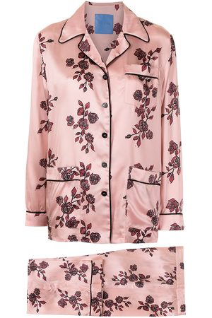 Macgraw Rose print silk pajama set
