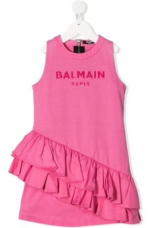 Balmain Girls Printed Dresses - Logo-print ruffled dress