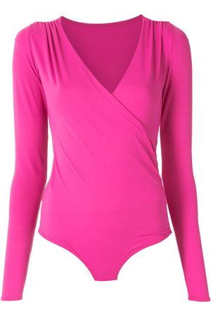AMIR SLAMA Women Long Sleeve - Draped long sleeves bodysuit