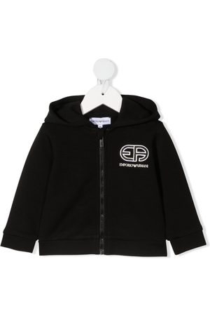 Emporio Armani Hoodies - Embroidered-logo zip-fastening hoodie