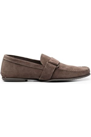 Officine creative Suede side-buckle loafers