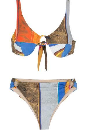 AMIR SLAMA Women Sets - Stripid print Eco bikini set