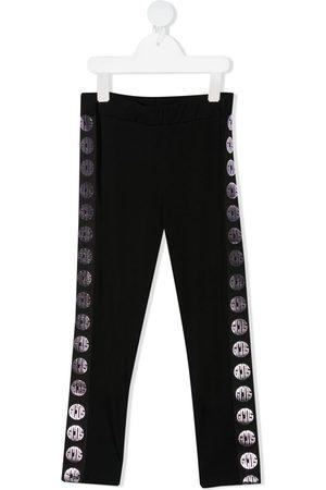 GCDS Girls Stretch Trousers - Logo stripe stretch-cotton leggings