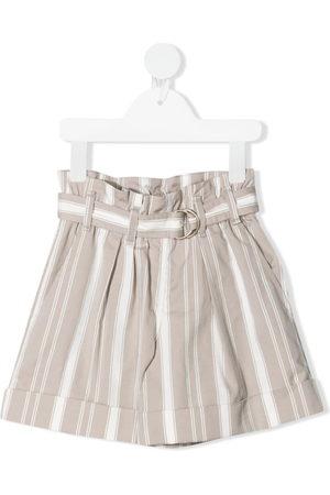 Brunello Cucinelli Stripe-print belted shorts