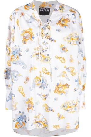 VERSACE Barocco-print lace-up shirt