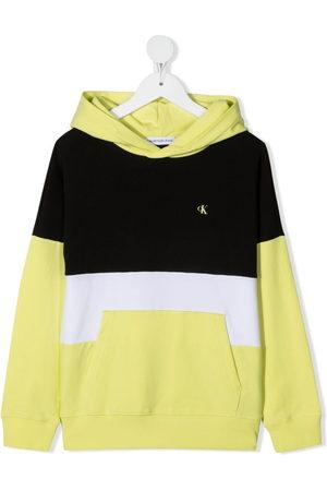 Calvin Klein Boys Hoodies - Logo-print colour-block hoodie