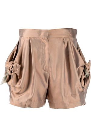 Emporio Armani Women Shorts - Bow-detail fitted shorts