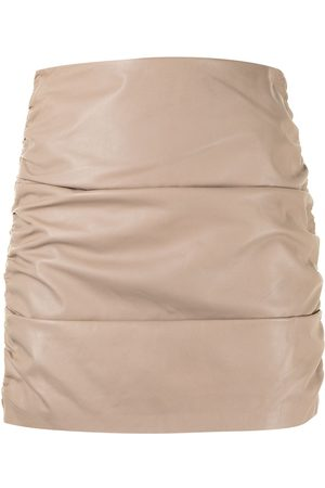 Michelle Mason Women Mini Skirts - Ruched leather mini skirt