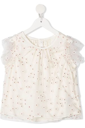 BONPOINT Girls Shirts - Floral embroidered blouse
