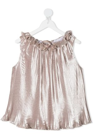 LA STUPENDERIA Luce metallic pleated blouse