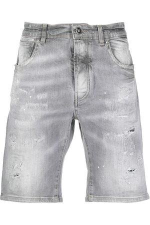 John Richmond Men Shorts - Faded denim shorts