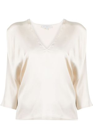 ANTONELLI V-neck crop-sleeve blouse