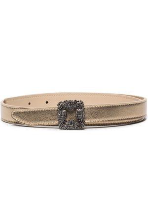 Manolo Blahnik Women Belts - Metallic crystal-embellished Hangisi belt