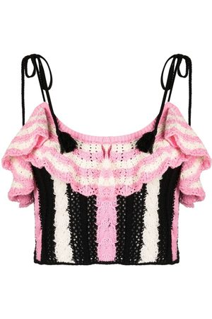 Msgm Women Tops - Knitted ruffle top