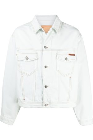Golden Goose Men Denim Jackets - Logo tab bleach denim jacket