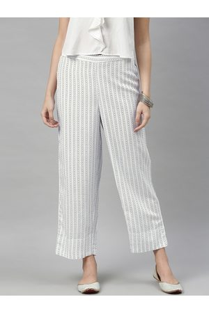 Global Desi Women White & Blue Regular Fit Striped Cropped Parallel Trousers