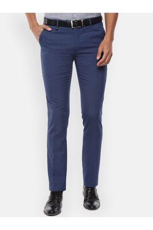 V Dot Men Navy Blue Regular Fit Checked Formal Trousers