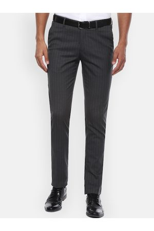 Louis Philippe Men Grey Slim Fit Striped Formal Trousers