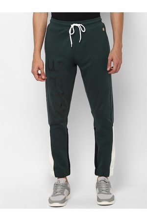 Allen Solly Tribe Men Green & Black Solid Straight-Fit Joggers