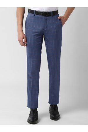 Peter England Elite Men Blue Slim Fit Checked Formal Trousers