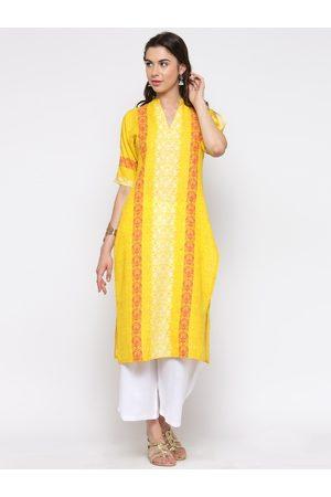 Sera Women Yellow & White Printed Kurta with Palazzos