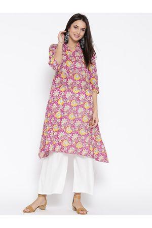 Sera Women Pink & Yellow Printed A-Line Kurta