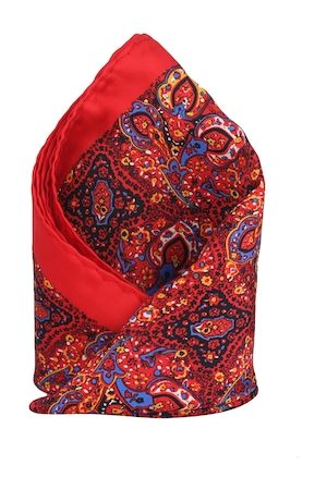 Alvaro Castagnino Red Printed Pocket Square