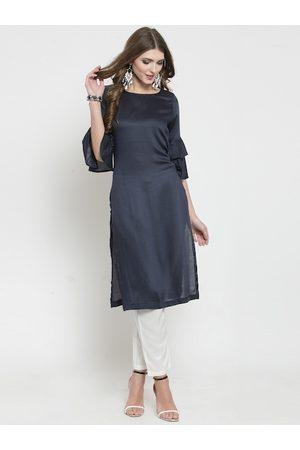 Sera Women Navy Blue & White Solid Kurta with Trousers