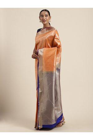 Mitera Women Light Orange Art Silk Woven Design Kanjeevaram Saree