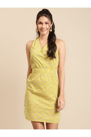 MABISH by Sonal Jain Women Mustard Yellow Cotton Printed Wrap Dress with Twisted Back