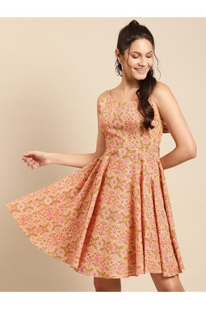 MABISH by Sonal Jain Women Orange & Pink Pure Cotton Printed Fit & Flare Dress