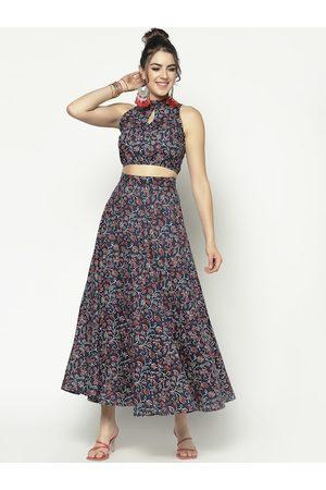 Sera Women Navy Blue Printed Maxi Dress