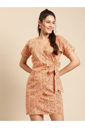 MABISH by Sonal Jain Women Peach-Coloured & Pink Cotton Printed Wrap Dress