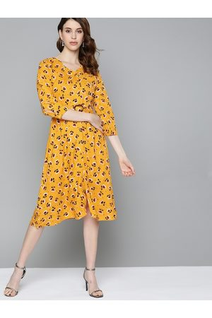 Chemistry Women Mustard Yellow & Black Floral Print A-Line Dress with Belt