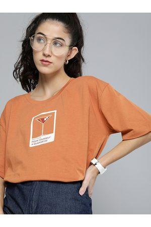 Kook N Keech Women Rust & White Printed Round Neck T-shirt