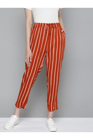Chemistry Women Rust Red & Cream-Coloured Striped Crop Trousers
