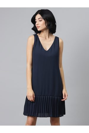 Sassafras Women Navy Blue Solid Drop-Waist Dress