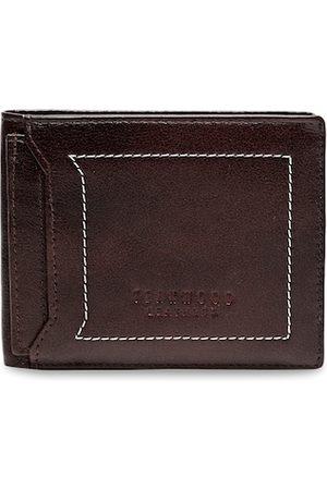 Teakwood Leathers Men Brown Woven Design Two Fold Wallet