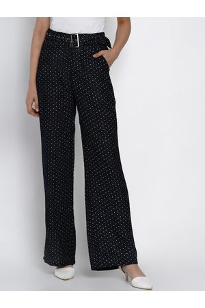 Texco Women Navy Blue Regular Fit Printed Parallel Trousers