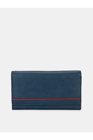 Pacific Women Blue & Red Textured Two Fold Wallet