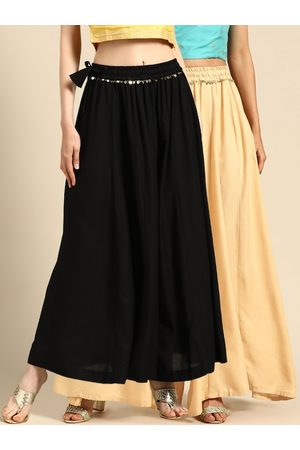 Tag 7 Women Black & Beige Solid Flared Palazzos