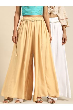 Tag 7 Women White & Cream-Coloured Solid Flared Palazzos